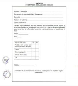 Requisitos para viajar a la selva: Declaración Jurada para viajar